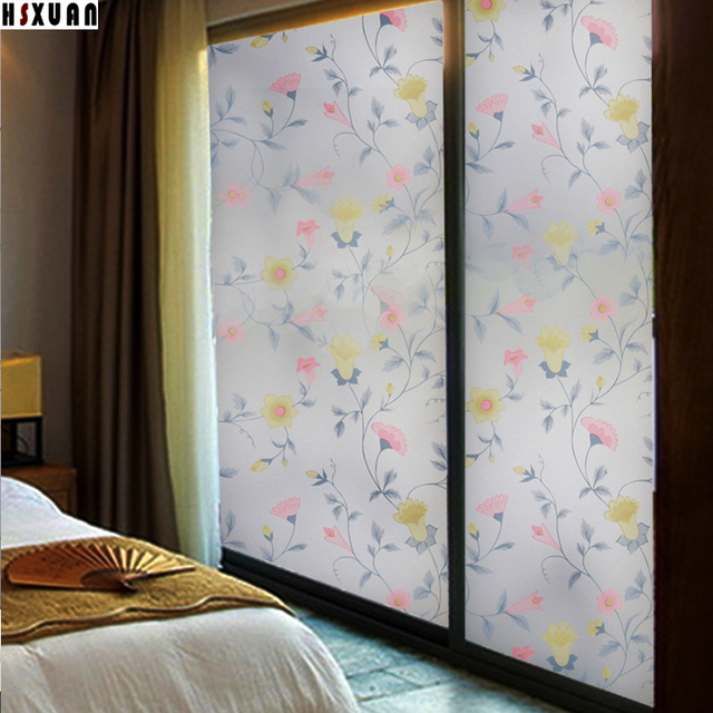 Frosted Floral Window Privacy Film Papers 92X100cm Bedroom Self Adhesive Sliding  Glass Door Window Stickers
