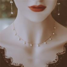 Collar con relleno de oro para mujer, Joyas de perlas de agua dulce, hecho a mano, Vintage, sencillo, para fiesta, Bisutería