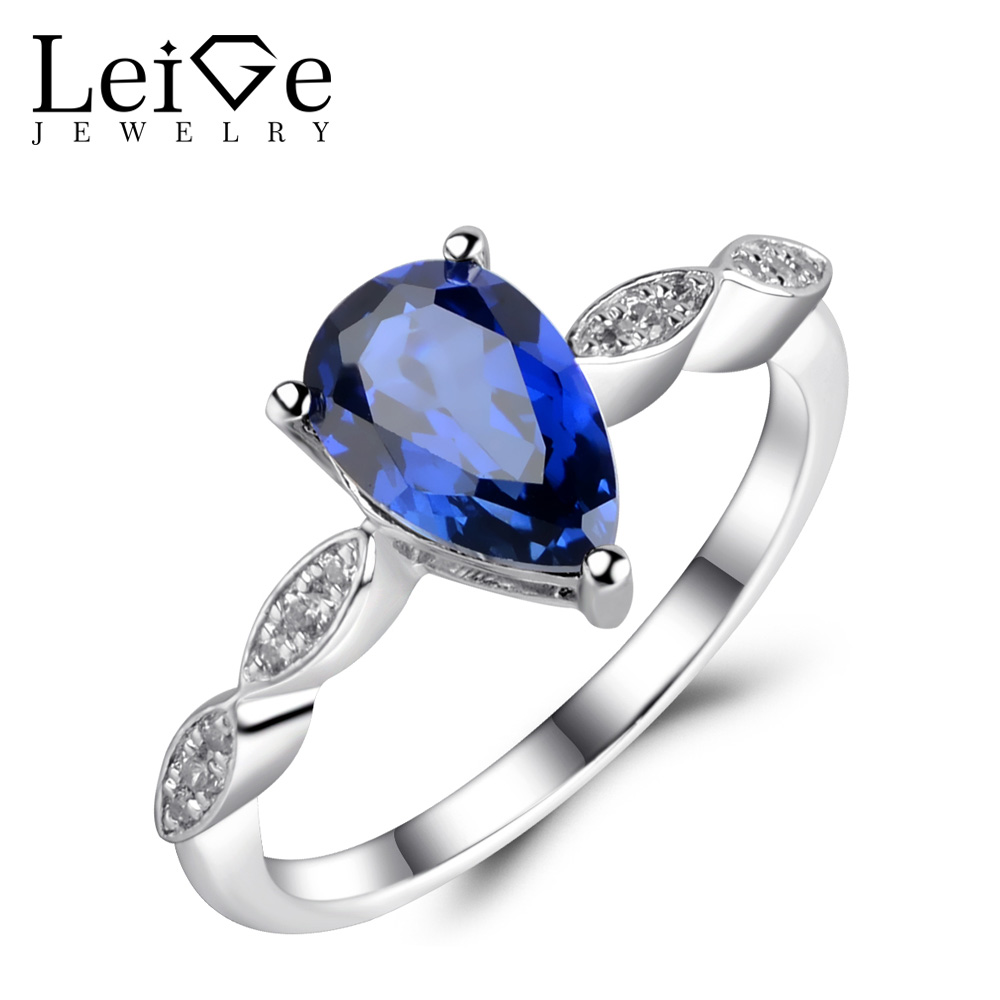 Leige Jewelry Teardrop Ring Sapphire Engagement Wedding Rings for Women Sterling Silver 925 Jewelry Pear Cut Blue Gemstone leige jewelry blue sapphire ring oval shaped wedding engagement rings for women sterling silver 925 jewelry blue gemstone