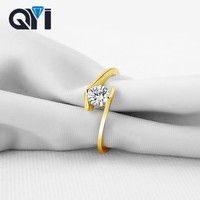 935a648939d2 QYI Wedding Accessories Round Sona Simulated Diamond 10K Solid Yellow Gold  Rings For Women Bridesmaid Gift