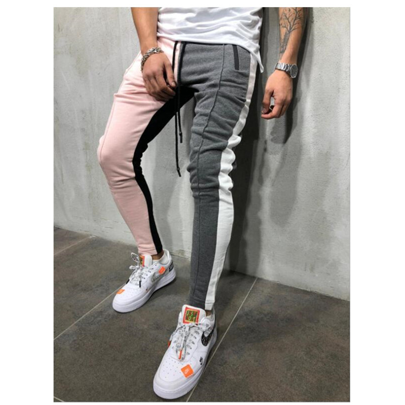 Casual Pants Trousers Color-Block Drawstring Patchwork Slim-Fit Hip-Hop Jogging Striped