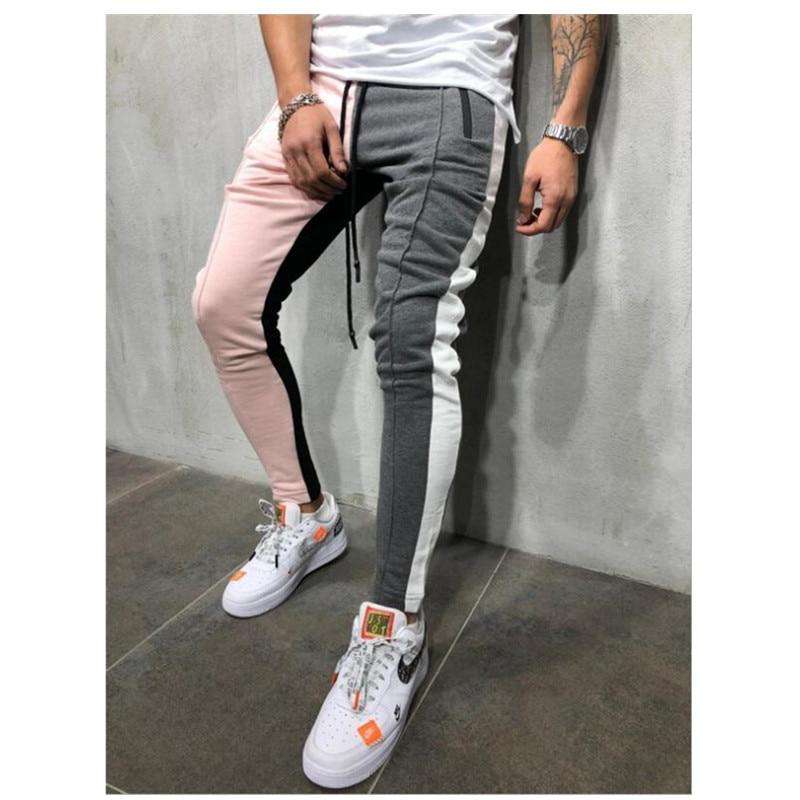 Mens Slim Fit Sweatpants Drawstring Striped Track Pants Color Block Patchwork Jogging Pant Sports Hip Hop Trousers Casual Pants