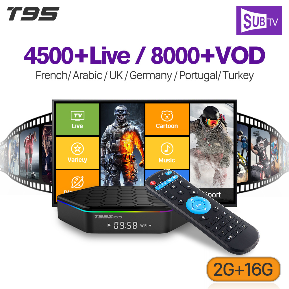 French Iptv Subscription T95Z plus TV Box Smart Android 7 1 S912 3\6\12  Months SUBTV Code IPTV Turkey Arabic France IPTV Box
