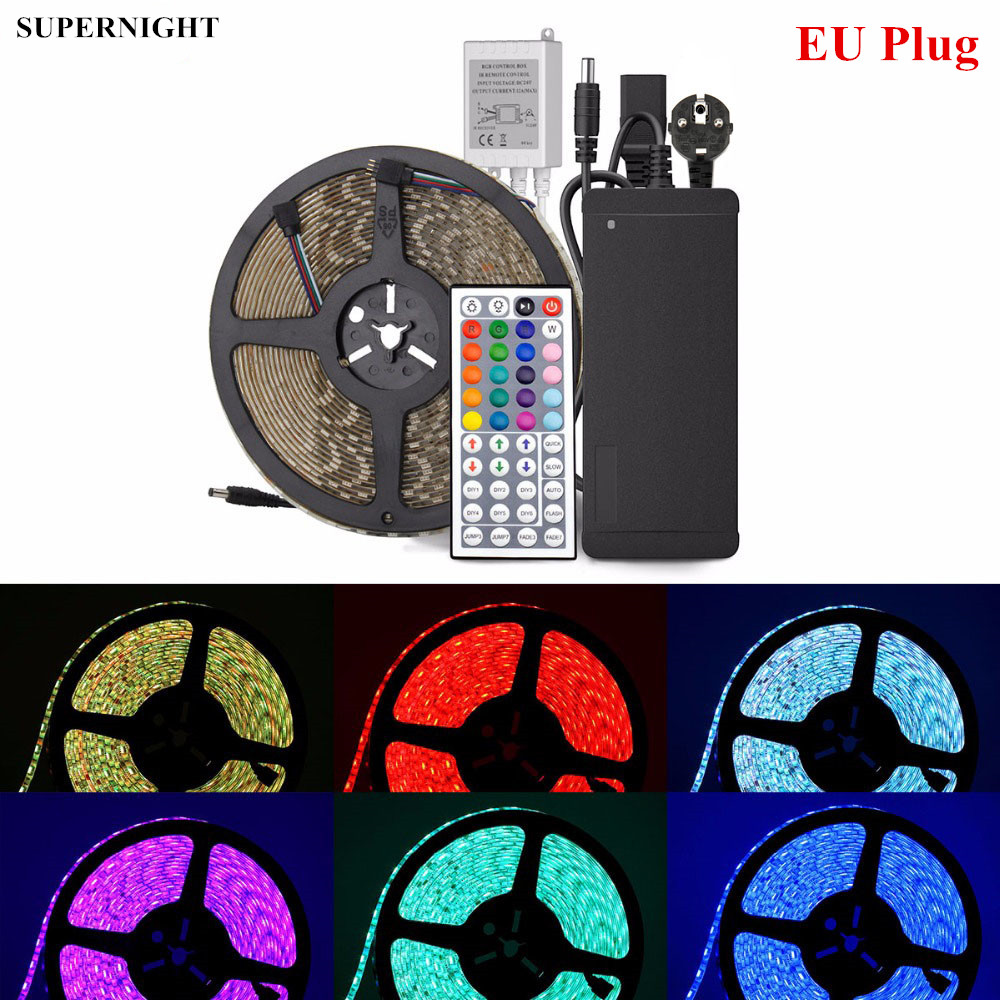 SuperNight 5050 RGB LED Strip kit 10M 60LEDsm DC 24V IP65 Waterproof Tape Light with 44 Keys Controller Power Adapter US EU UK