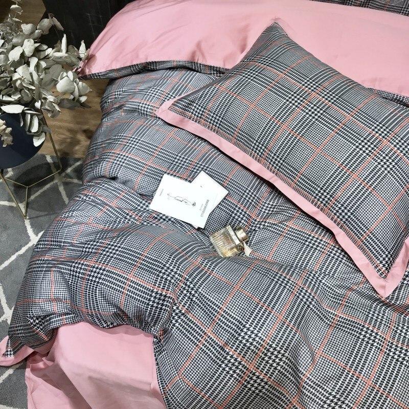 60S Египетский хлопковый клетчатый Комплект постельного белья, 4 шт., Королевский размер, Шелковый домашний комплект постельного белья из хло... - 5