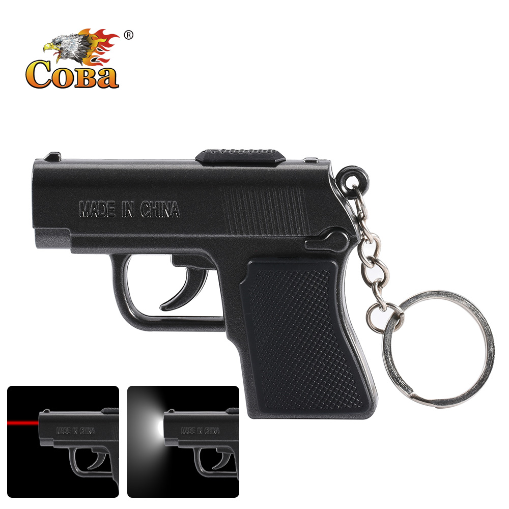 Coba Cob Keychain Flashlight Gun Shape With 2 Mode Infrared Light Mini Torch Use 3*button Battery New Applicable Outside Lamp