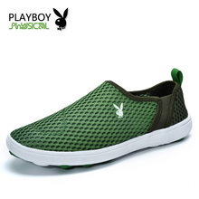 PLAYBOY Men Casual Shoes 2016 New Arrival Men's Fashion Elastic band Breathable Spring Shoes Male Plus Size Mesh Flat Shoes(China)