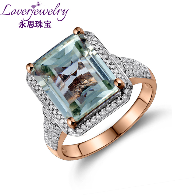 LOVERJEWELRY Ring For Women Emerald Cut Green Gemstone 100% Natural Amethyst Diamond Engagement Ring Solid 14K Rose Gold Jewelry