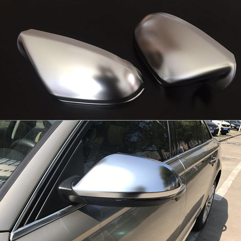2pcs Silver ABS Chrome Side View Mirrors Replacement Caps Cover For Audi A6 2012 2017