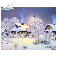 Nabi Needlework Diamante Pintura Bonita Paisagem da Neve do Inverno Diamante Bordado Todas Broca Strass Mosaico Imagem RF465