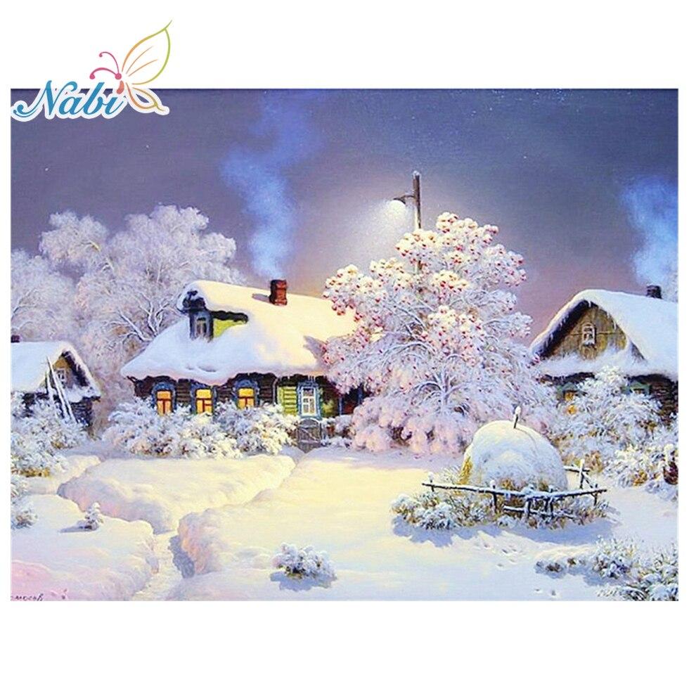 Nabi рукоделие алмазная живопись красивый снежный зимний пейзаж Алмазная вышивка все сверла Стразы мозаика картина RF465|Алмазная роспись, вышивка крестом|   | АлиЭкспресс