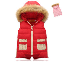 Big girls 2016 new autumn and winter in the warm down jacket vest children hooded down