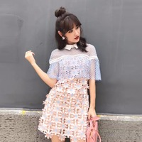 Women flower lace dress 2017 straight Cape Dress High Quality Runway peter pan collar cloak Hollow Out Short Sexy Party Dresses