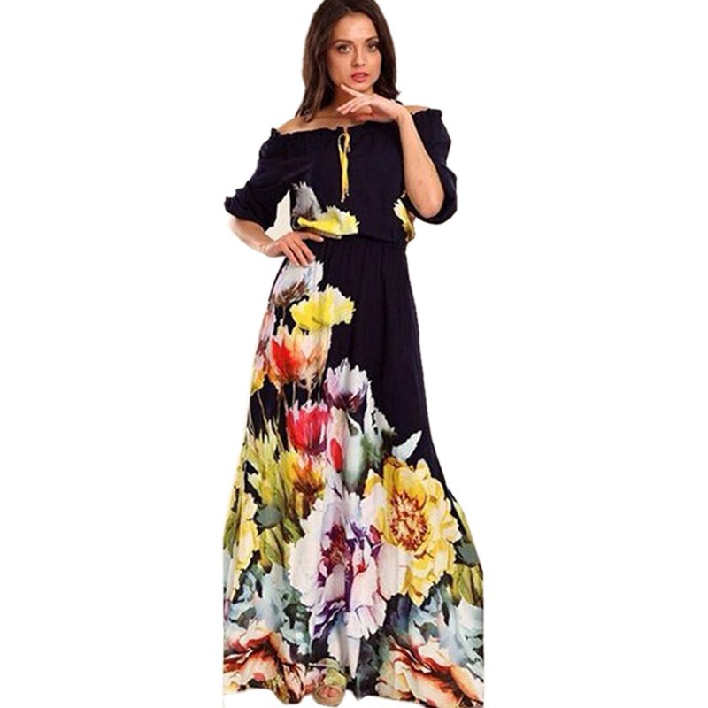 08e13cbc5833 Floral Printed Dres desigual Women Maxi Dress Off the Shoulder Half Puff  Sleeve Long Dress vestidos ...