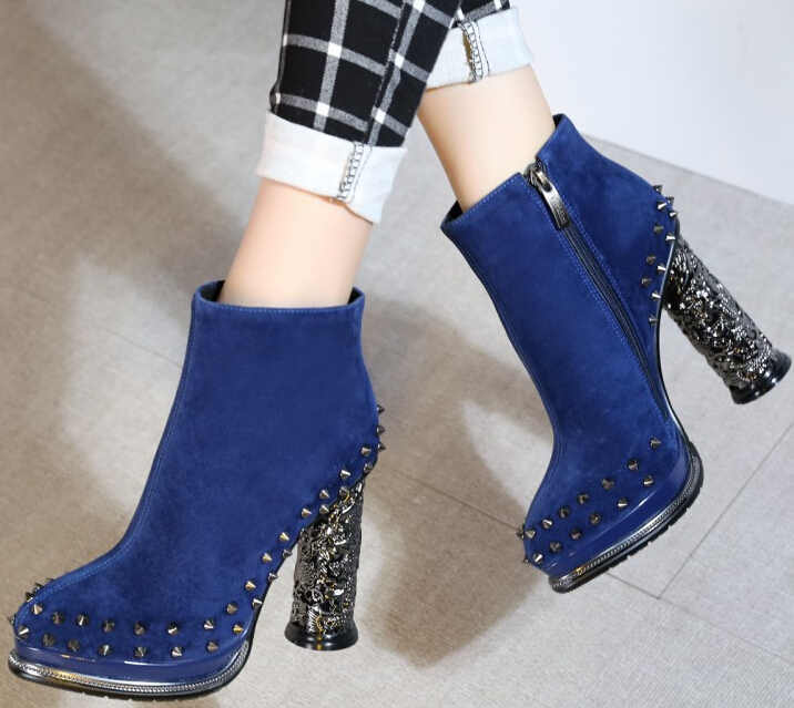 Women Autumn Winter Thick High Heel Genuine Leather Flock Round Toe Side Zipper Rivets Fashion Ankle Boot Size 34-39 SXQ0929 vinlle women boot square low heel pu leather rivets zipper solid ankle boots western style round lady motorcycle boot size 34 43