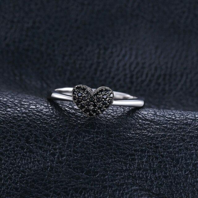 Heart Black Spinel Sterling Silver Ring 3