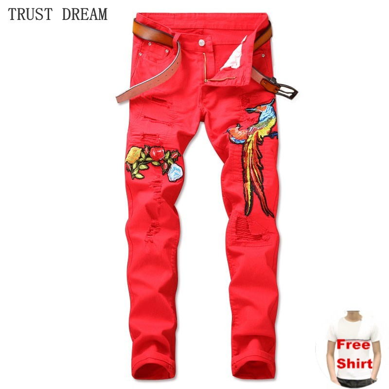 Mens Ripped Hole Embroidery phoenix Jeans Euro Style Patchwork Personal Motor Pant Street Club Fashion Man Slim Red Jean