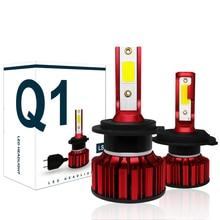 COOLFOX H7 lámpara LED de 80W para Auto 12000Lm H4 hi lo de luz Led Turbo bombilla del faro 9005 9006 H11 COB Chip lejos Ampul HB4 6000K
