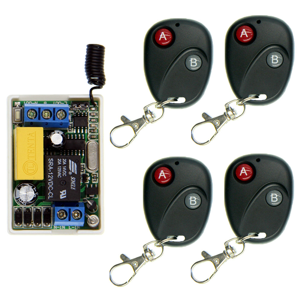 White 220V 10A Relay 1 CH 1CH RF Wireless Remote Control Switch Smart System,Transmitter + Small Receiver,Latched (A-ON,B-OFF)