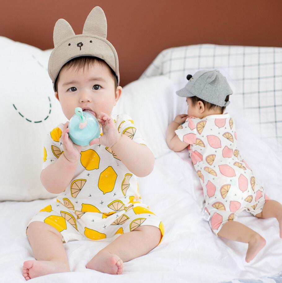 Baby Rompers Fruit Lemon Summer Clothes Short Sleeve Infant bebe Romper Cotton Newborn Baby Boys Jumpsuit Kids Soft Overalls baby boys rompers infant jumpsuits mickey baby clothes summer short sleeve cotton kids overalls newborn baby girls clothing