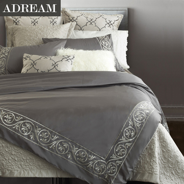 ADREAM 100% cotton 4pcs Bedding Set Grey Embroidered Bedding European style Duvet Cover Set Home textiles For Queen King Size