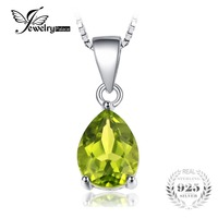 JewelryPalace Pear 1 5ct Natural Green Peridot Birthstone Solitaire Pendant Necklace 925 Sterling Silver 45cm Box