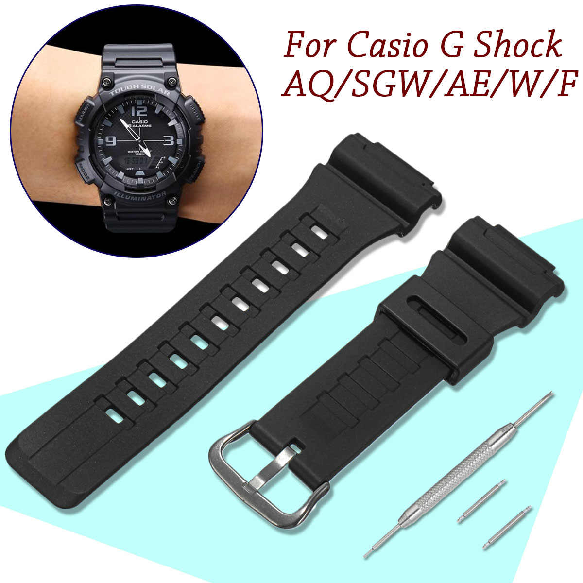 Resin watch Strap Silicone Rubber Watchband Wristband Watches Band For Casio G Shock AQ/SGW/AE /W/F 18mm Bracelet Watch