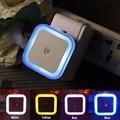 US ЕС Мини СВЕТОДИОДНЫЙ 0.5 Вт Night Light Control Auto Датчик Детские спальня Лампы Квадратный Белый Желтый AC110-220V СВЕТОДИОДНЫЙ Ночник Для Ребенка