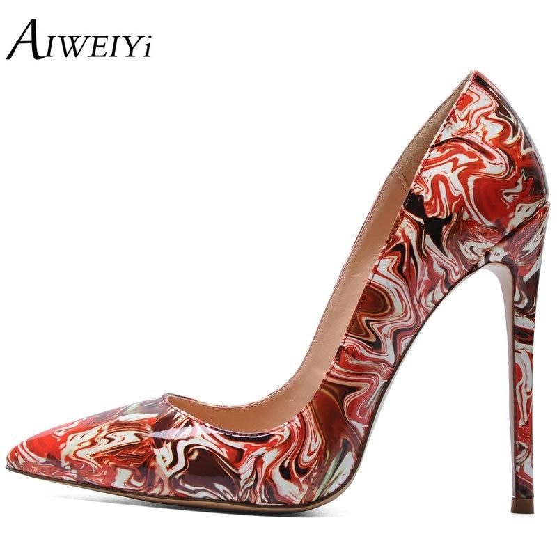 AIWEIYi <font><b>Women's</b></font> <font><b>Stiletto</b></font> <font><b>Heel</b></font> Pumps <font><b>Women</b></font> Floral Print Thin High <font><b>Heels</b></font> Shoes Woman <font><b>Summer</b></font> Pointed Toe Shoes Party Wedding Shoes
