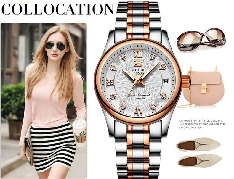 Binger Famous Brand Women Watches Luxury Automatic Waterproof Women Date Lady Stainless Steel Silver Female Casual Watch original binger mans automatic mechanical wrist watch date display watch self wind steel with gold wheel watches new luxury