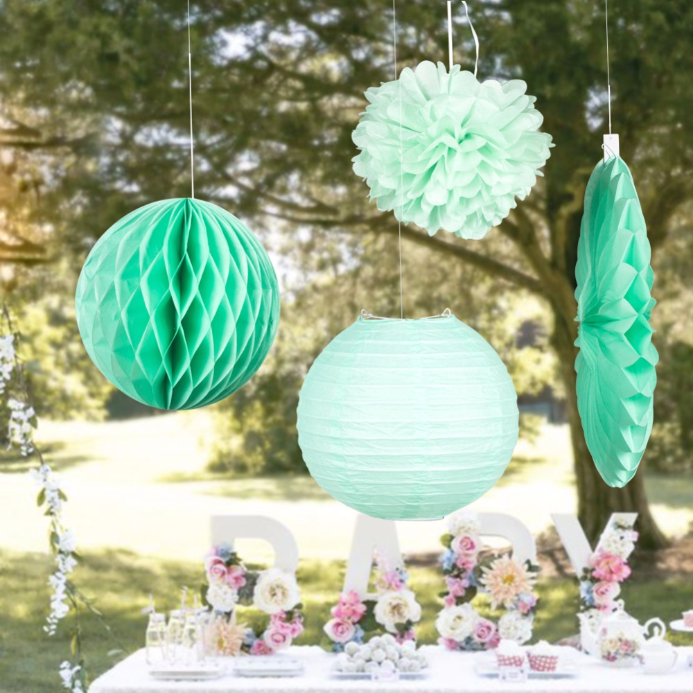 Mint Party Decorations For Wedding Birthday Baby Shower Bridal shower party Favors Honeycomb Balls Pom Pom Lantern 4Pieces/set