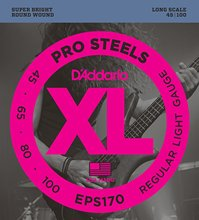D'Addario EPS170 ProSteels Bass Guitar Strings, Light, 45-100, Long Scale