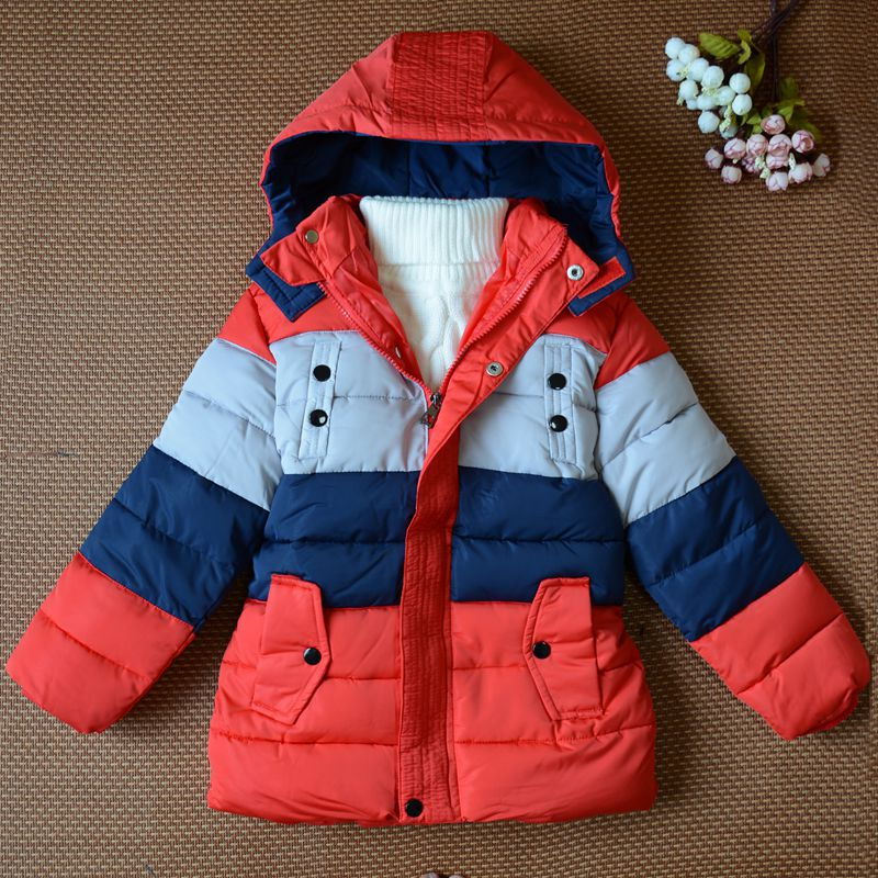 Fashion Winter Boy Girls Coat Strip Down Jacket Thicken Children Cotton-Padded Clothes Kids Hooded Outerwear Parkas TZ08