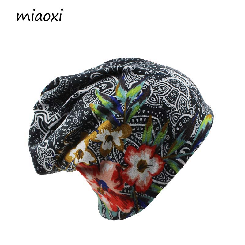 miaoxi New Women Hat Polyester Adult Casual Floral Womens Hats Spring Autumn Two Used Female Cap Scarf 3 Colors Fashion Beanies