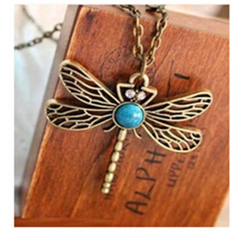 X5 แฟชั่นเครื่องประดับแมลง Dragonfly ยาวจี้สร้อยคอคริสตัลจี้สร้อยคอขายร้อน Birthdat ของขวัญขายส่ง