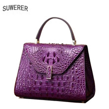 SUWERER 2019 New Superior cowhide women genuine leather bags crocodile pattern Embossed Fashion luxury leather hanbags tote bag цена