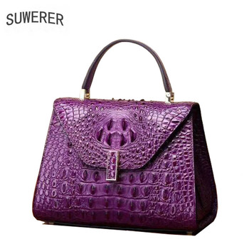 SUWERER 2019 New Superior cowhide women genuine leather bags crocodile pattern Embossed Fashion luxury leather hanbags tote bag