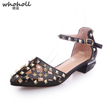 WHOHOLL Women Sandals 2019 Summer New Rome Shoes Gladiator Sandals Woman Rivet Buckle Strap Pointed-toe Low Heel Hollow Out Shoe lucyever women fashion rome buckle sandals 2018 summer flats gladiator sandals pointed toe ankle strap rivets punk shoes woman