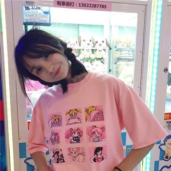 Nueva moda de verano para mujeres de gran tamaño Casual Harajuku letras de dibujos animados ulzzang Sailor Moon manga corta divertida media Camiseta de algodón