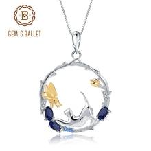 GEMS balet 0.84Ct naturalny błękitny szafir biżuteria 925 srebro Handmade motyl kwiat Bud EPendant naszyjnik dla kobiet