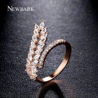 NEWBARK Marca Aberto Tamanho Ajustável Anéis de Design Original Original Planta Em Forma de Cubic Zirconia Anéis de Cristal Anéis de Casamento Jóias