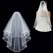 Simple and Elegent Wedding Veil Bridal Veils Tulle Veils with Comb and Lace Ribbon Edge White