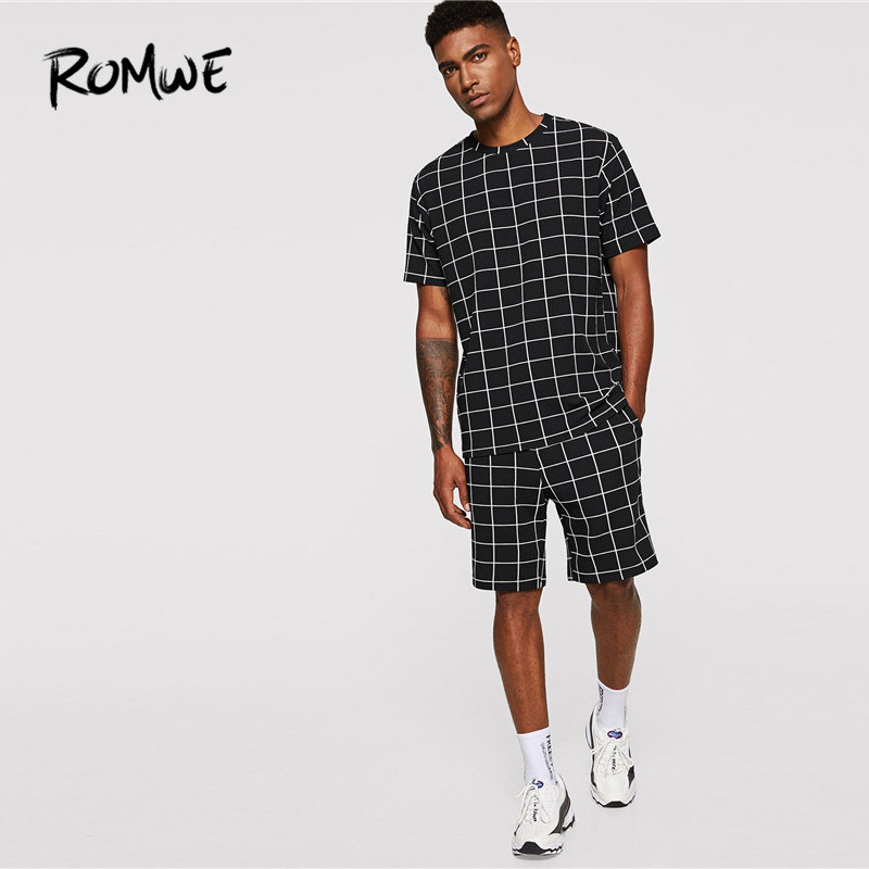 ROMWE Mens Black Casual Two Pieces Set Fashion Plaid Tee With Shorts Co-ords Male Summer Grid Short Sleeve T Shirts And Shorts