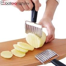 BalleenShiny для волнистой нарезки картофеля резак Картофель фри чипы нож для овощей фруктов моркови нержавеющая сталь пластиковая ручка