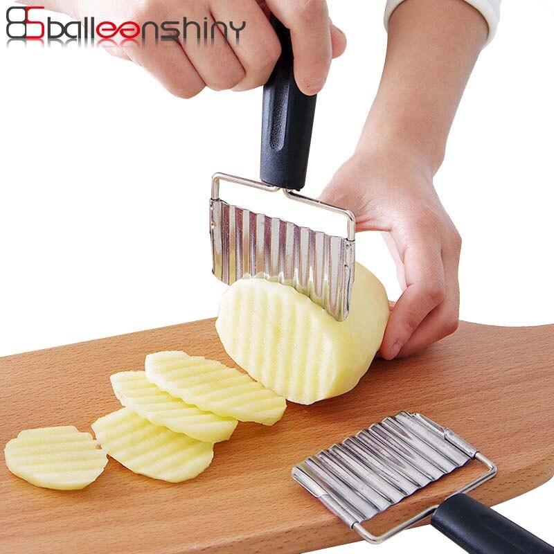 BalleenShiny Potato Wavy Cutter Francouzské hranolky Bramborové lupínky Nůž Zeleninový ovoce Mrkvový kráječ Nerezová plastová rukojeť