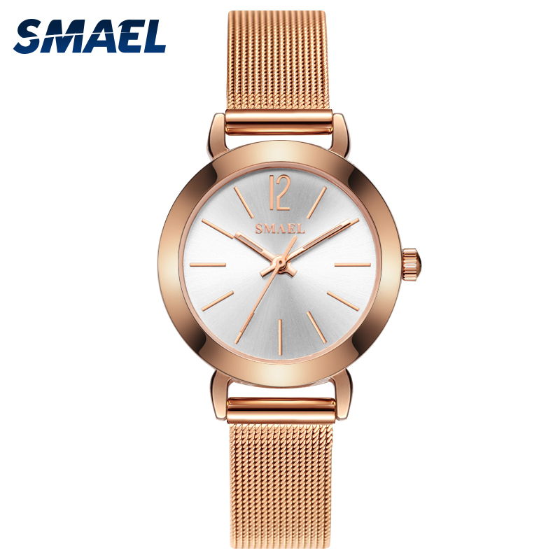 SMAEL Casual Watch Women Watches Fashion Gold Quartz-watch Female Steel Bracelet Luxury Dress WristWatch Reloj Muje Montre Femme luxury fashion golden quartz watches square casual lady women party dinner bracelet bangle dress watch montre femme
