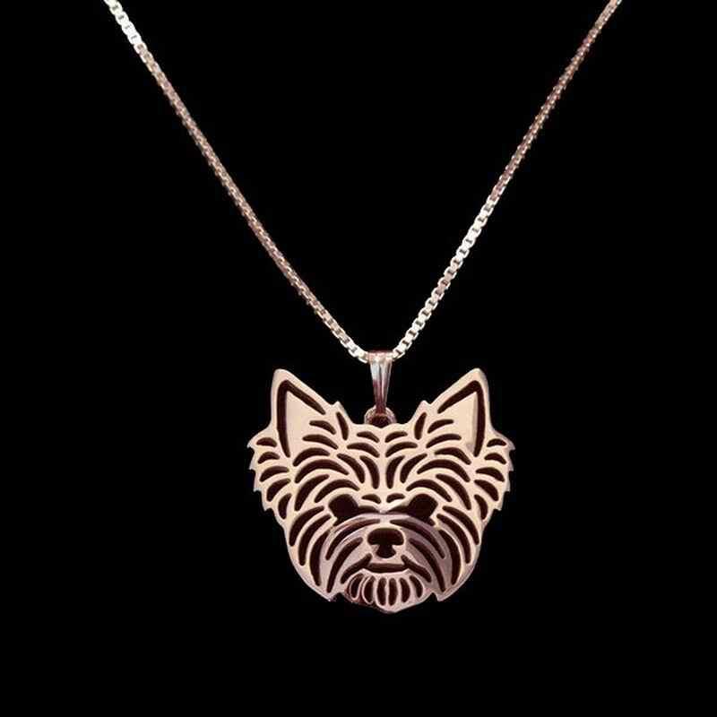 2019 เงินผู้หญิง Yorkshire Terrier จี้สร้อยคอ Lovers 'โลหะผสมสุนัขสร้อยคอ Drop Shipping