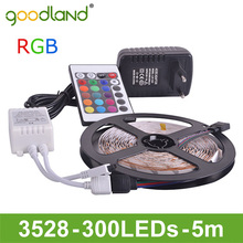 Goodland Marca RGB Luz de Tira LLEVADA SMD3528 DC 12 V Flexible de Luz LED 60LED/m 5 m Poder Adatpter, Mando a distancia, Receptor