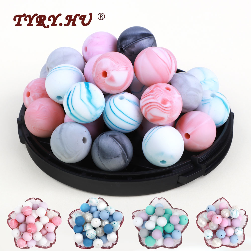 TYRY.HU 30pc/50pc Food Grade Round Silicone Beads 9mm 12mm 15mm Baby Teething Toy DIY Pacifier chain tools baby Teether BPA Free(China)