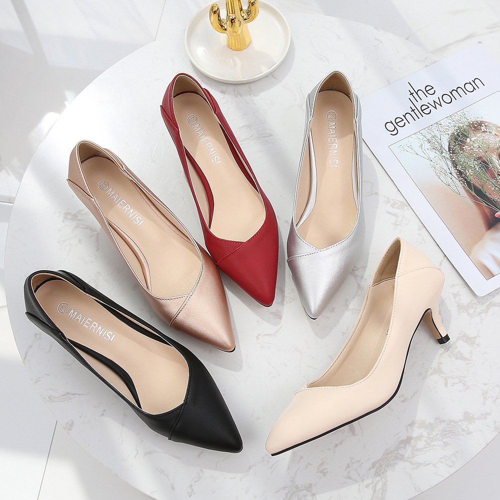 Plus Size 36-46 Women Shoes Pointed Toe Pumps Patent Pu Casual Shoes Kitten Heels Boat Shoes Wedding Shoes  Zapatos De Mujer